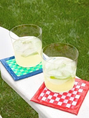 Coasters made from plastic straws - a great Summer craft project for older kids!
