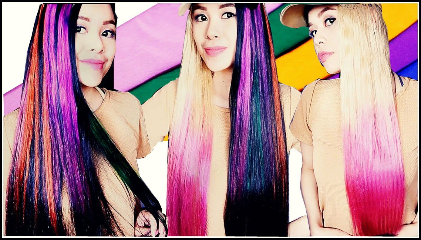 Diy Temporary Highlights Dip Dye Hair Color Using Crepe Paper