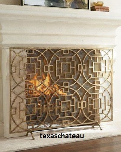 Modern french chinese chippendale fireplace screen mesh fire modern french chinese chippendale fireplace screen mesh fire firescreen horchow teraionfo