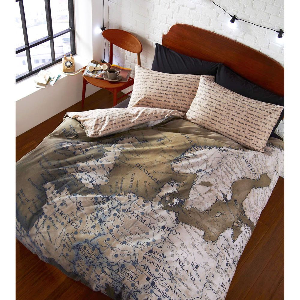 World Map Vintage Duvet Cover – Reversible Bedding Green & Natural ...