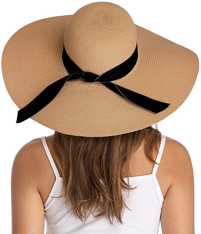 Lanzom Womens Wide Brim Straw Hat Floppy Foldable Roll Up Cap Beach Sun Hat Upf 50 Style E Bowknot Khaki At A Wide Brim Straw Hat Wide Brim Sun Hat Sun Hats