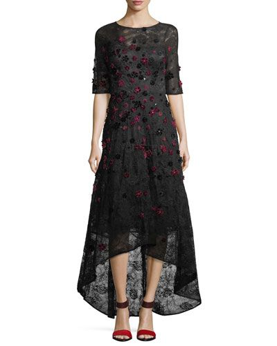5c6cf71104c6f RICKIE FREEMAN FOR TERI JON ELBOW-SLEEVE HIGH-LOW LACE 3-D VELVET FLORAL  COCKTAIL DRESS.  rickiefreemanforterijon  cloth