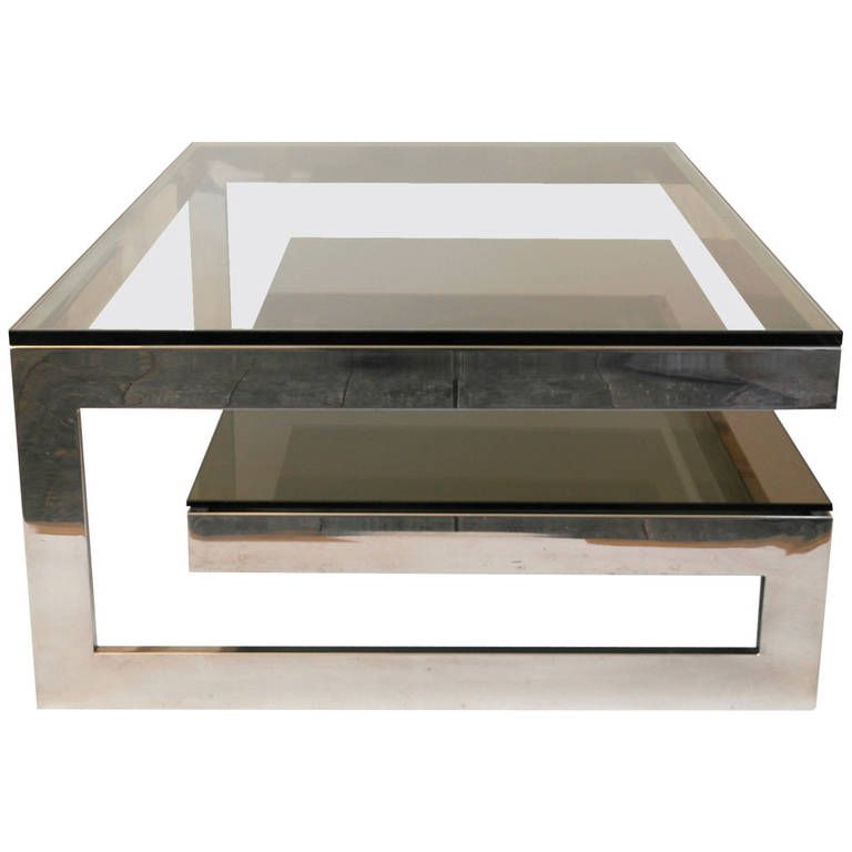 Good Cantilevered U0027Gu0027 Mirror Chrome Coffee Table With Smoke Glass Tiered Shelf