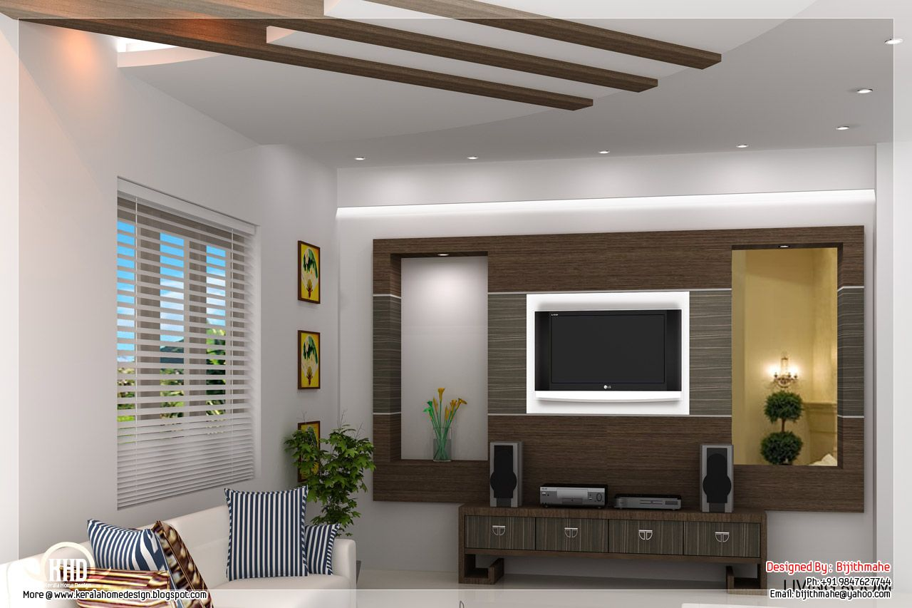 Interior design living room designer bijith mahe Home plans with interior pictures
