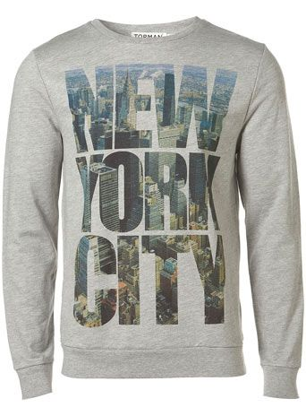 Topman Grey New York City print sweatshirt BOOM   Ballin ...