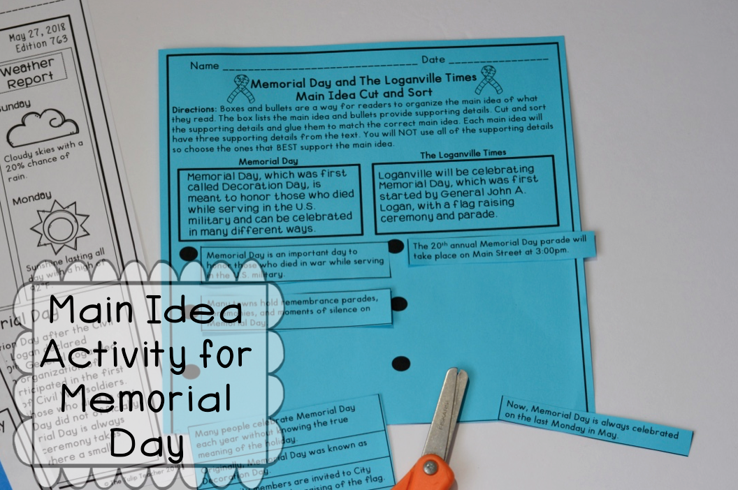 Memorial Day Reading Comprehension With Main Idea Activity Using The Boxes And Bullets Strategy Love This P Reading Comprehension Memorial Day Paired Passages