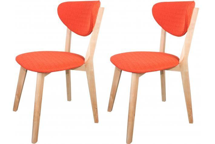 Lot De 2 Chaises Scandinaves Oranges Stol Design Pas Cher Sur