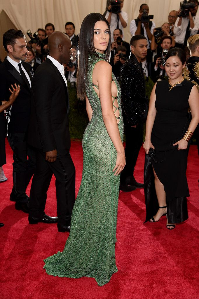6862886a2d7 Kendall Jenner in a Calvin Klein Collection green dress.