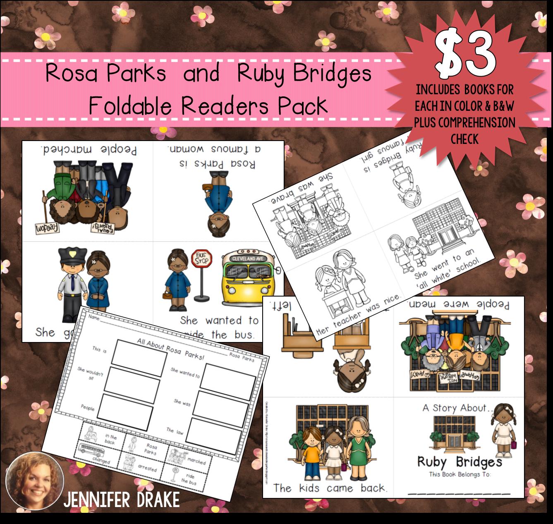 Rosa Parks Amp Ruby Bridges Foldable Emergent Readers Color Amp B Amp W 4 Books Total