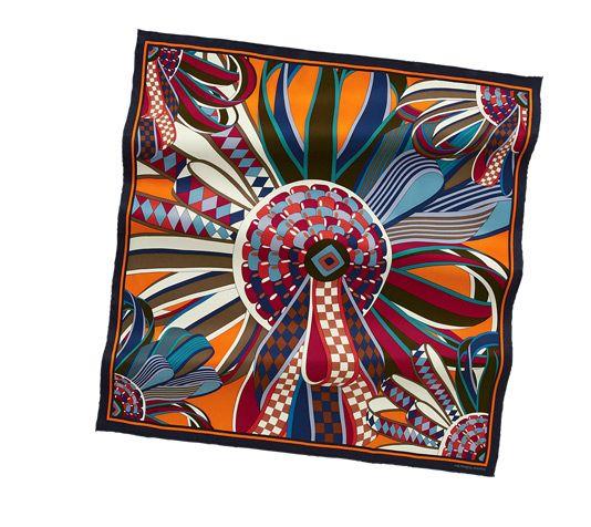 39e4cc62fb8c Les Flots du Cheval Vintage silk twill scarf, hand rolled, 28
