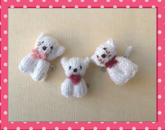 Knitted Bear And Cat Pins Knit Crochet Bears And Crochet