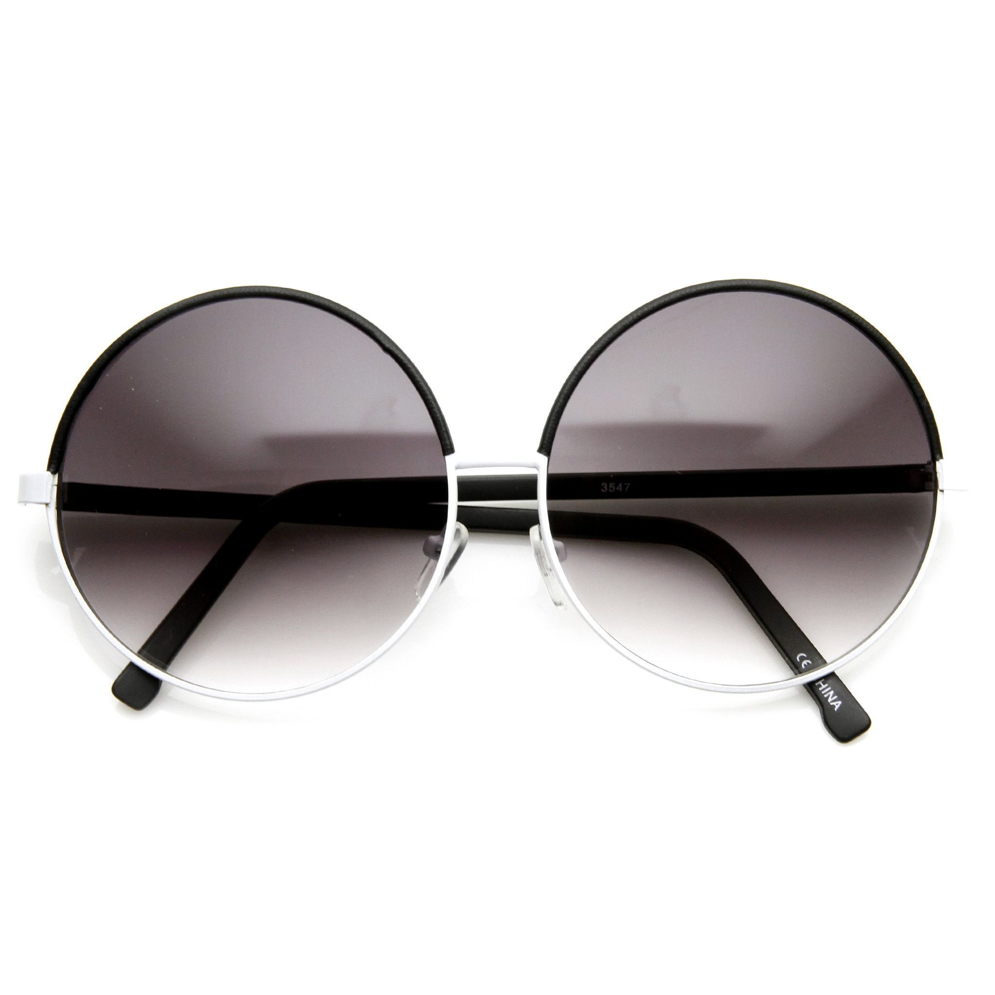Womens Designer Inspired Super Round Oversize Two Tone Sunglasses ...