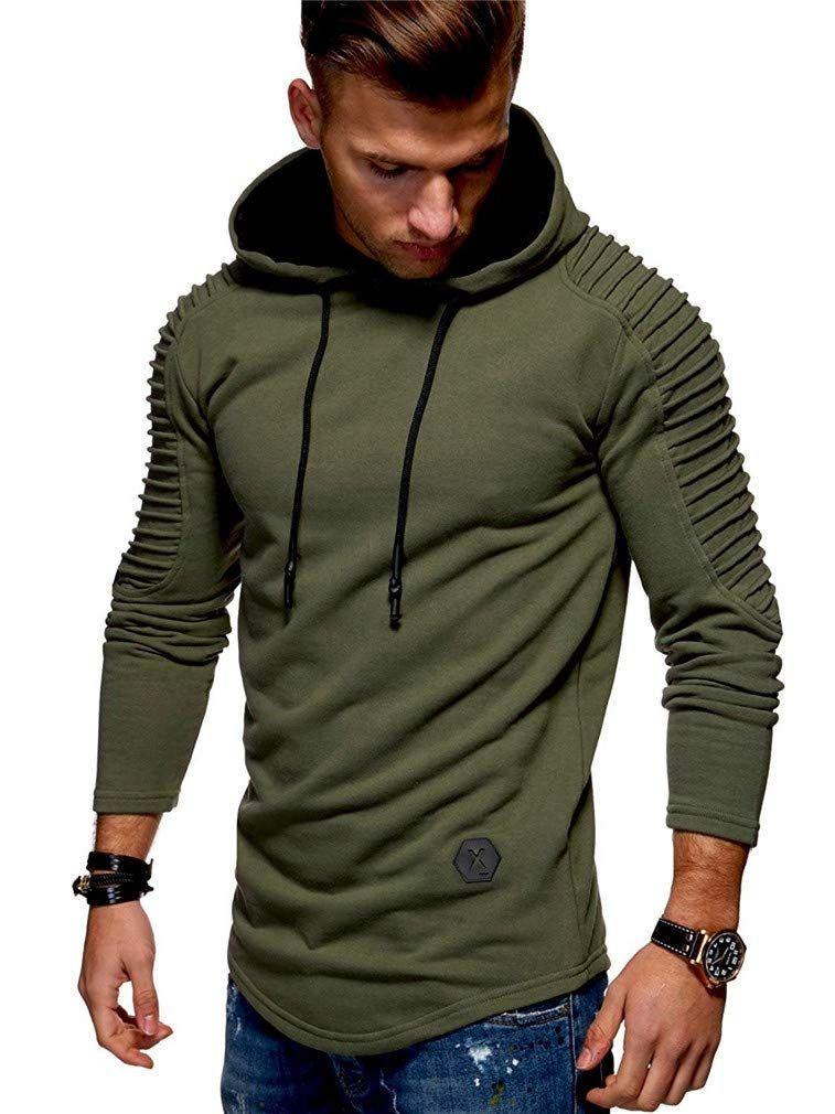Mens Pleated Long Sleeve Hoodies Sweatshirts Sports Sweater Pullover Pocket Tops