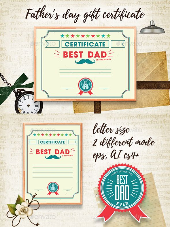 Fathers Day Gift Certificate Pinterest Certificate Gift - Gift certificate template ai