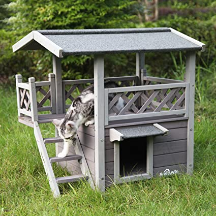 Aivituvin Dog Cat House Outdoor And Indoor Feral Pet Houses With Stairs For Cats Insulated Weatherp Outdoor Cat House Wooden Cat House Cat House
