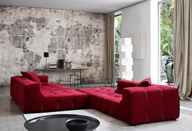 Furniture Comfy Lounge Furniture Ideas With Red Velvet Chaise Lounge Sofa For Living Room With Rustic Wall Wall Decor Living Room Living Room Sofa Sofa Design