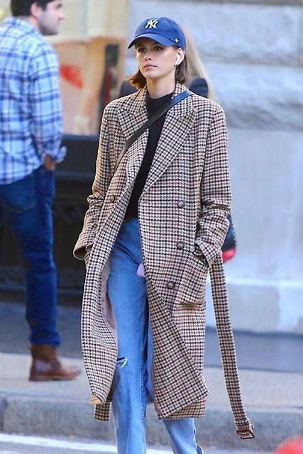 #KaiaGerber Vintage Long Belt Plaid #Coat - #CelebrityDresses