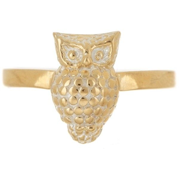 Anna Beck 18K Gold Plated Sterling Silver Owl Ring ($69) ❤ liked on Polyvore featuring jewelry, rings, gold, gold plated jewelry, 18 karat gold jewelry, owl jewelry, sterling silver rings and band rings