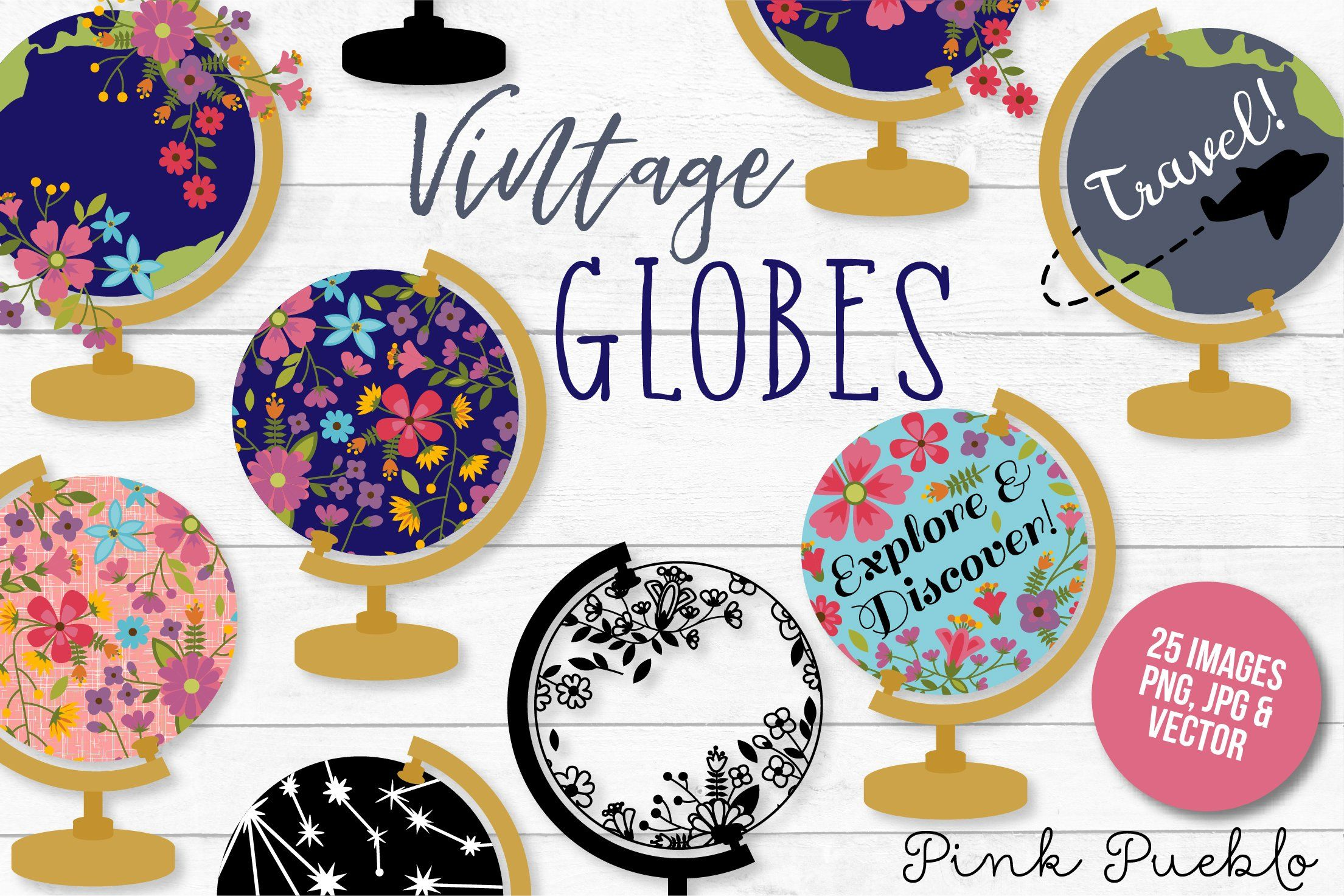 Vintage Globe Clipart and Vectors (With images) Globe