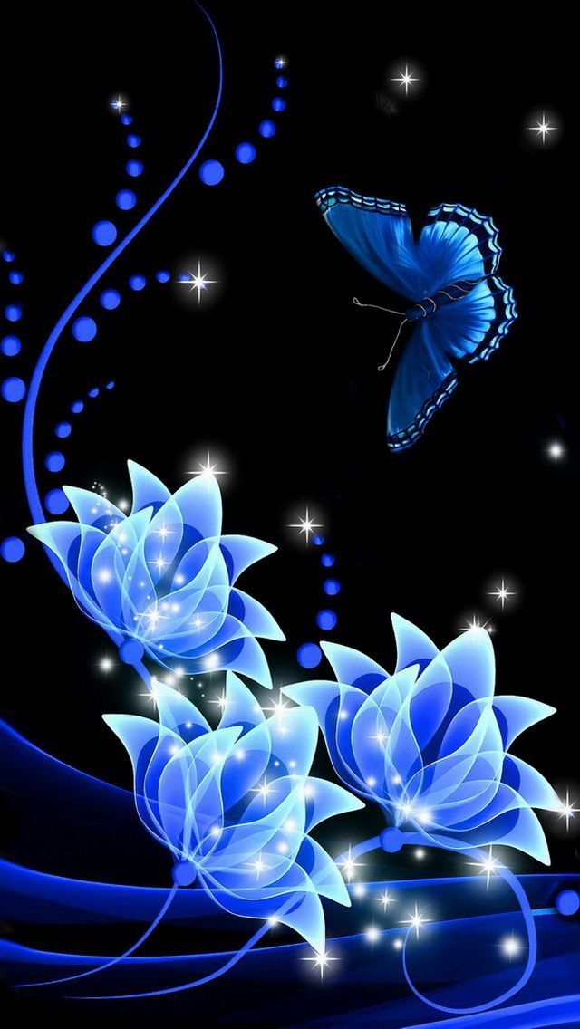Digital Art Flowers And Butterfly In Black And Blue Butterfly Wallpaper Flower Wallpaper Wallpaper Backgrounds