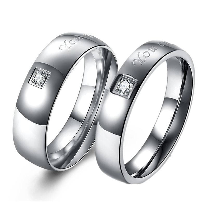 9ed2a0764a 2pcs Pair Stainless Steel Wedding Rings Couples Rings for Lovers Women and  Men Engagement Promise Ring for Couple