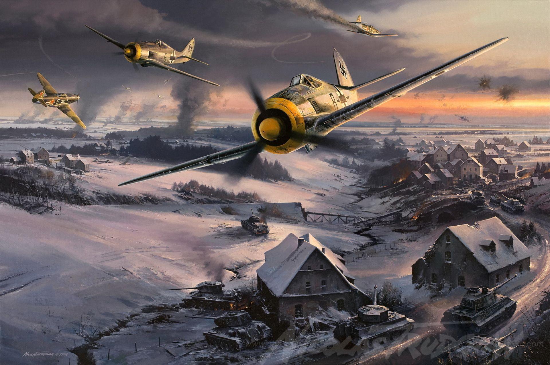 Обои german airplane, ww2, painting.aviation, Fw 190 d-9, bomber hunter, war. Авиация foto 11