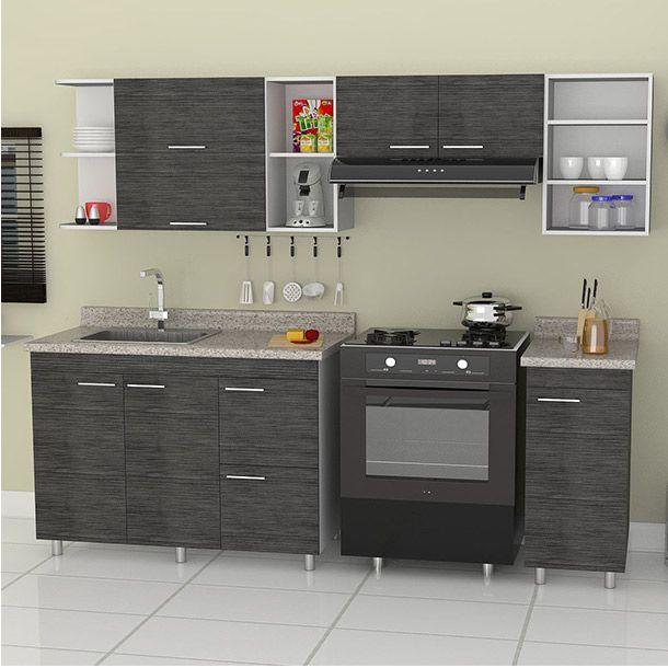 Cocina gris m tarja cocinas y cocina peque a for Catalogos de cocinas pequenas