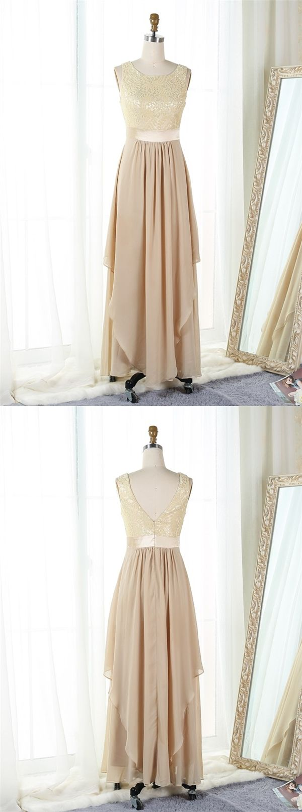 Aline bateau floorlength champagne chiffon prom dress with lace