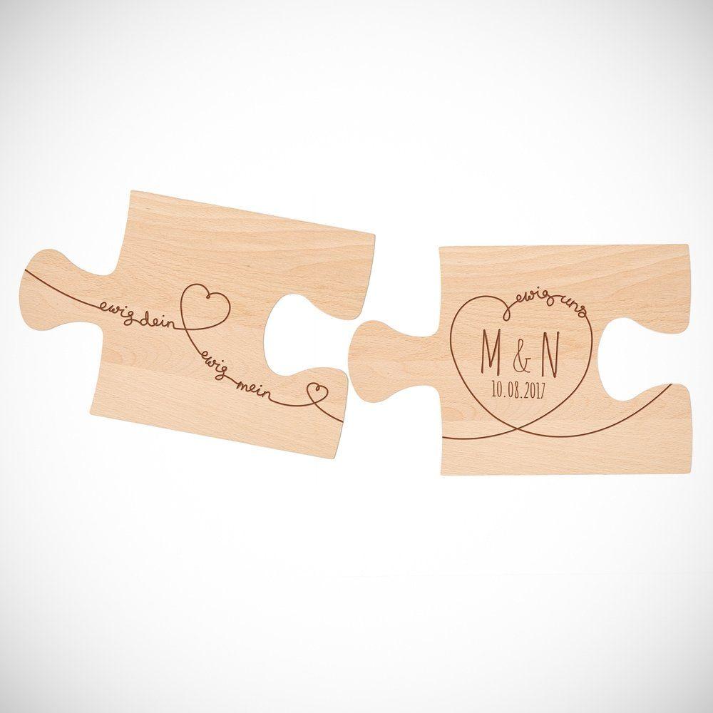 Puzzle Brett Mit Gravur Zur Hochzeit 2er Set Ewig Dein Gravur Spruche Personalisierte Puzzle Ewig Dein