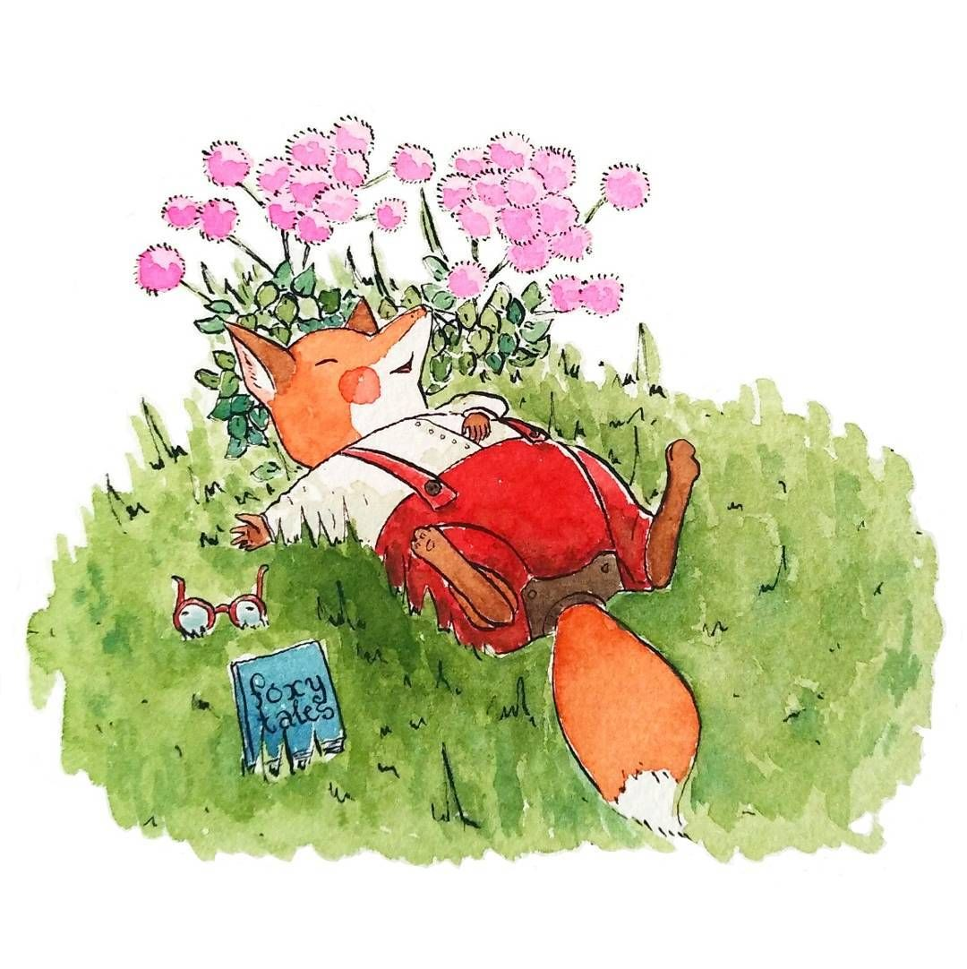 Childrens Book Illustration By Foxyporridge Sleeping Fox Summer