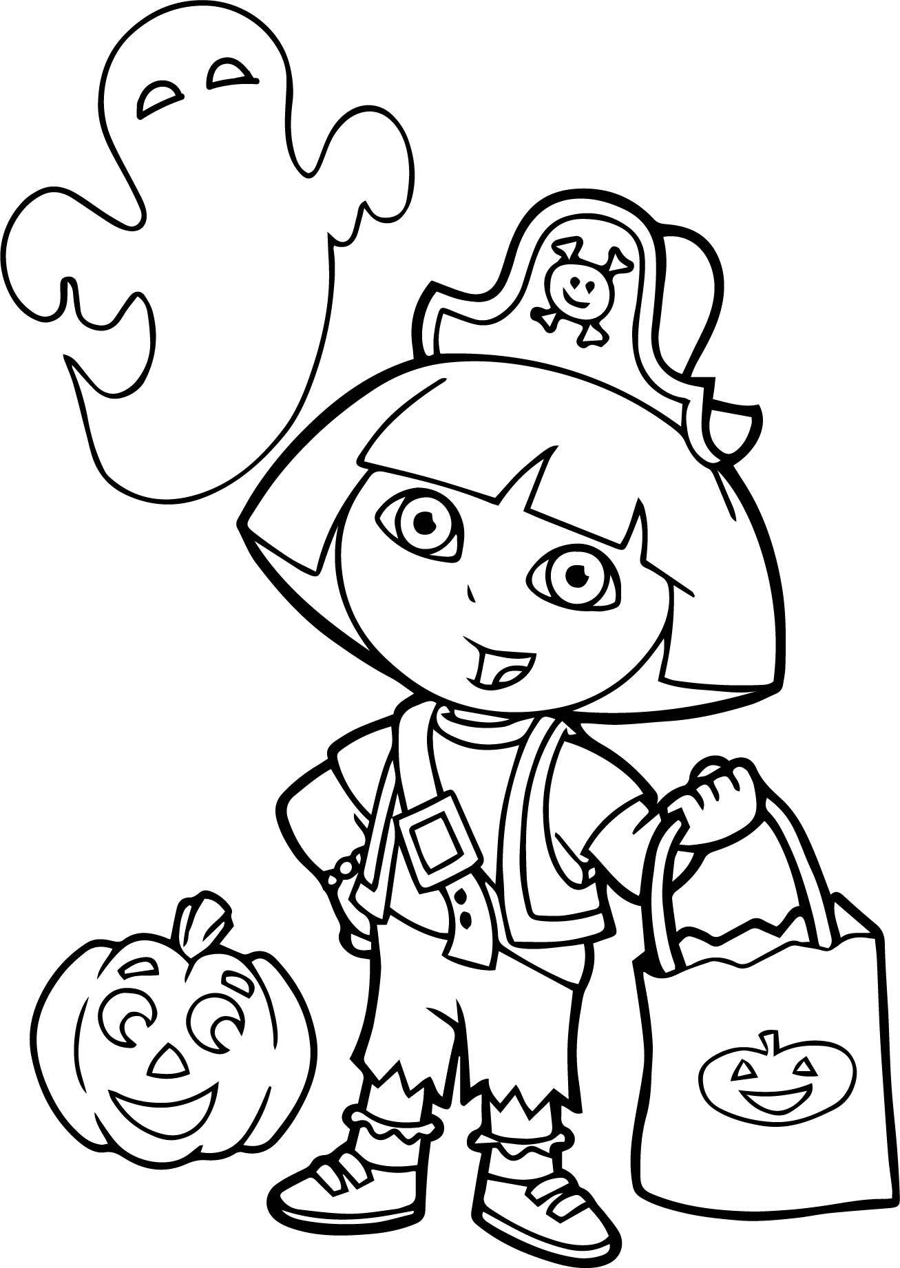 Coloring Dora Explorer Halloween Pages 2020