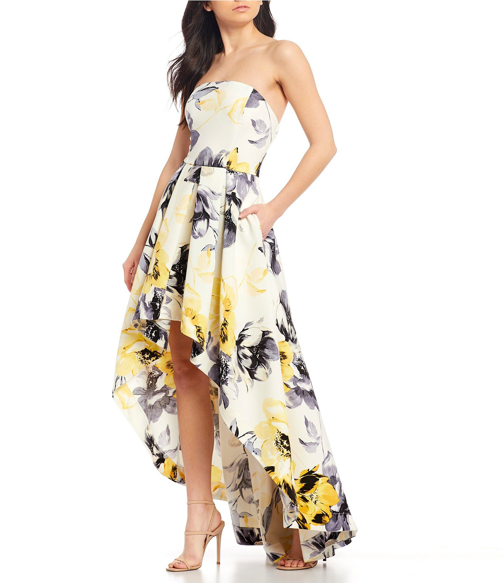 Xtraordinary Strapless Floral Print Satin Long High Low Dress Dillard S In 2021 Black Long Sleeve Cocktail Dress High Low Dress Floral Dresses Long [ 2040 x 1760 Pixel ]