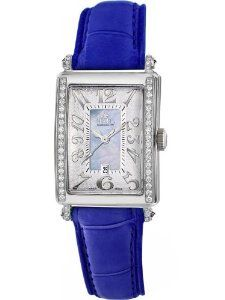 Gevril Women's 7247NE.3B Blue Mother-of-Pearl Genuine Alligator Strap Watch