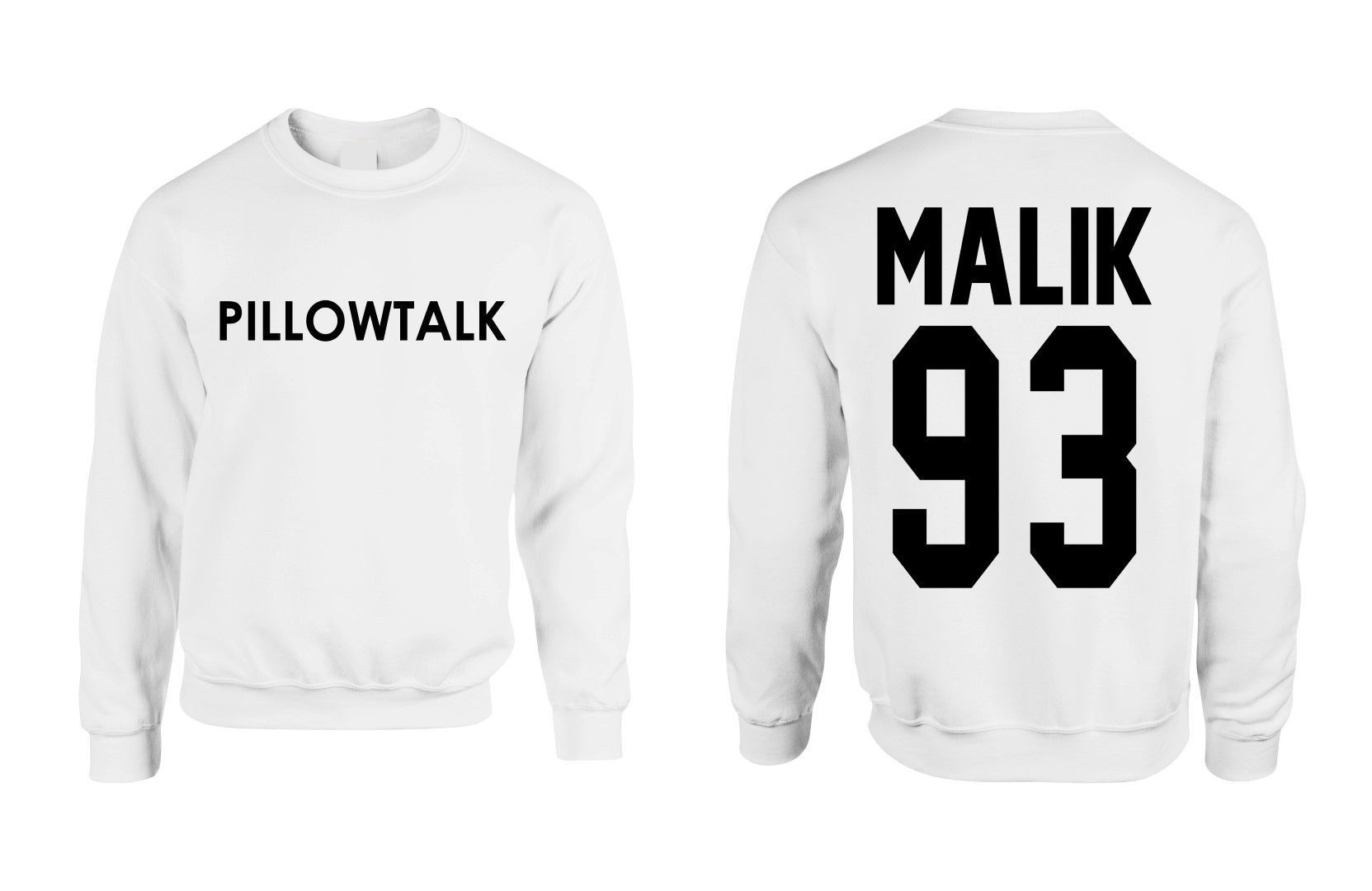 03623a59 zayn malik pillowtalk two side crewneck Sweatshirt Pullover front and back  2 sides Pillow Talk malik 93 former one direction shirt