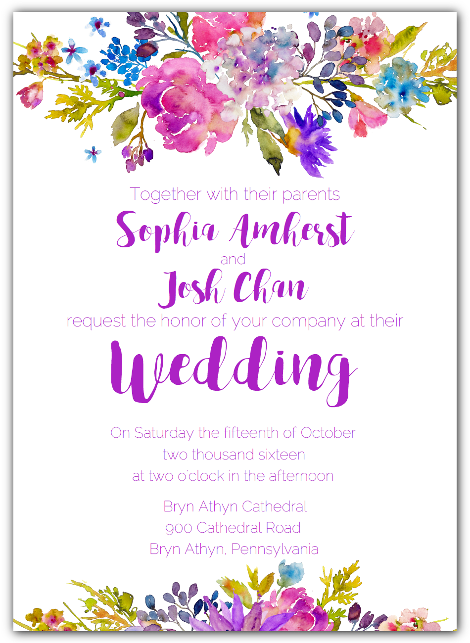 Printable Wedding Invitation Suite Template with a Floral Garden ...