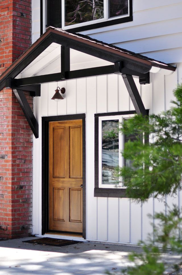 White With Black Trim Solid Wood Door Lake House