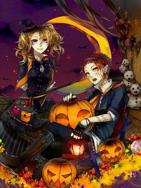 Halloween Anime Boy And Girl Witch Vampire Zombie Pumpkin Jack O Lantern Candy Trick Or Treat Moon Ghost Anime Halloween Anime Anime Witch