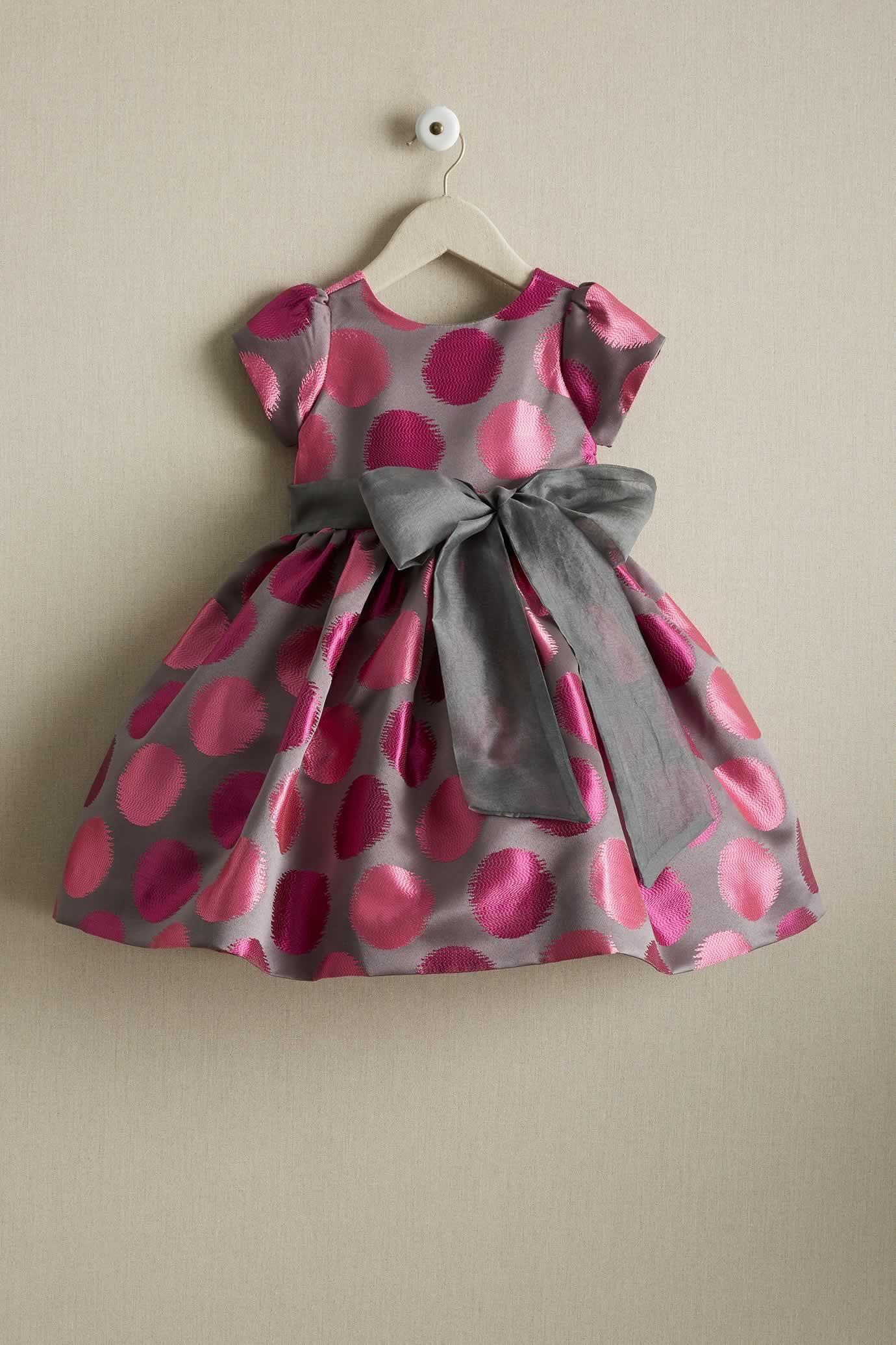 Girls Pink Polka Dot Dress  Baby girl dress patterns, Baby frocks