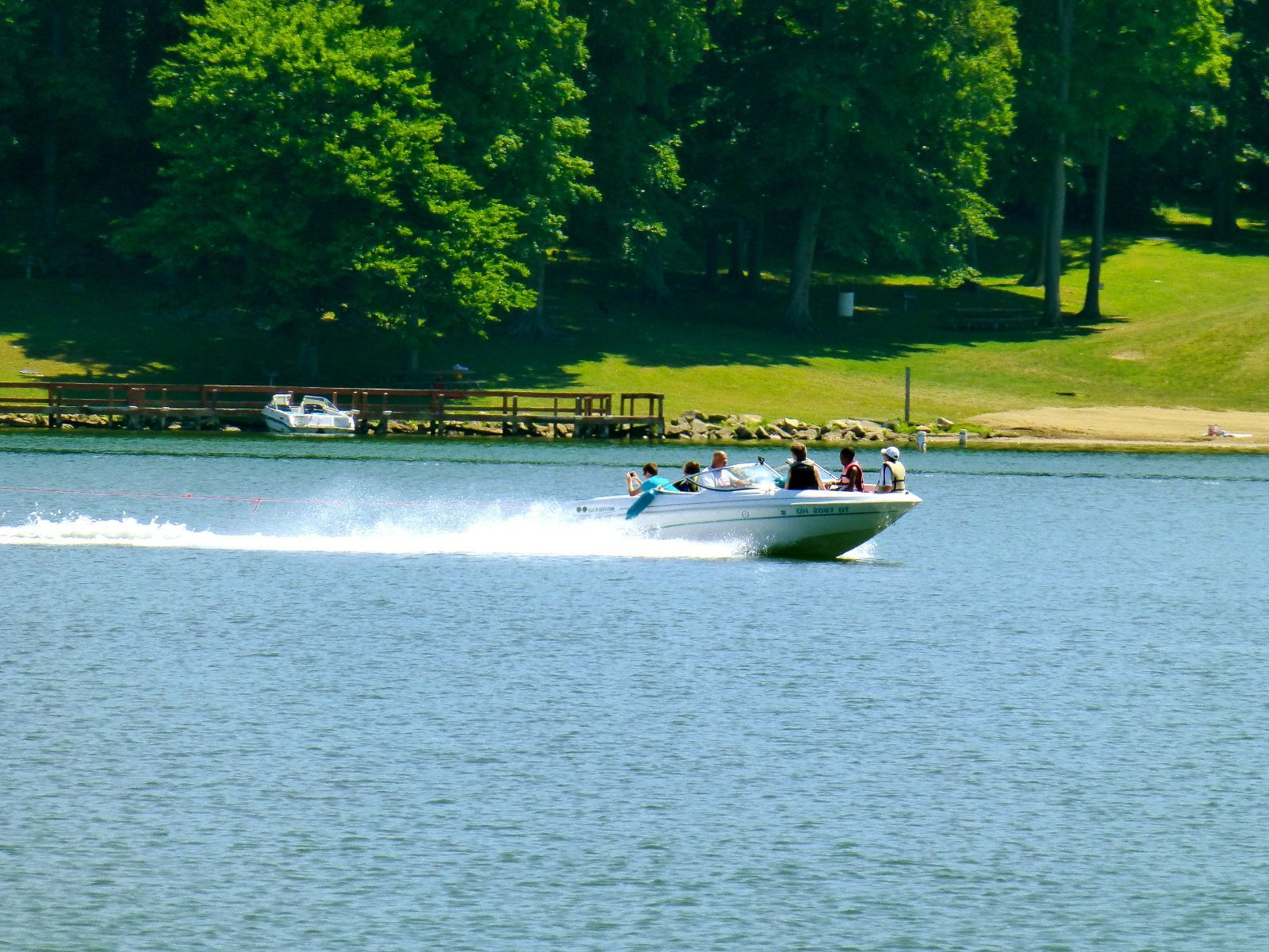 Boating at the apple valley lake is a popular pastime and