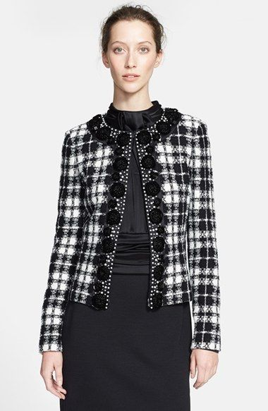 St. John Collection Plaid Knit Tailored Jacket