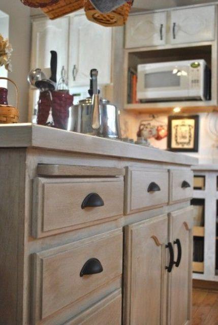 39 Shabby Chic Whitewashed Storage Pieces Digsdigs Stained Kitchen Cabinets Whitewash Kitchen Cabinets Kitchen Remodel