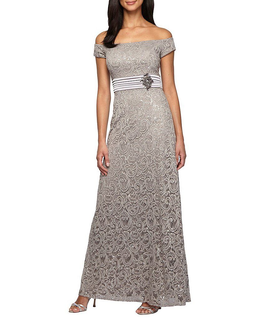 Alex Evenings Off-the-Shoulder Lace Gown | Accessories | Pinterest ...