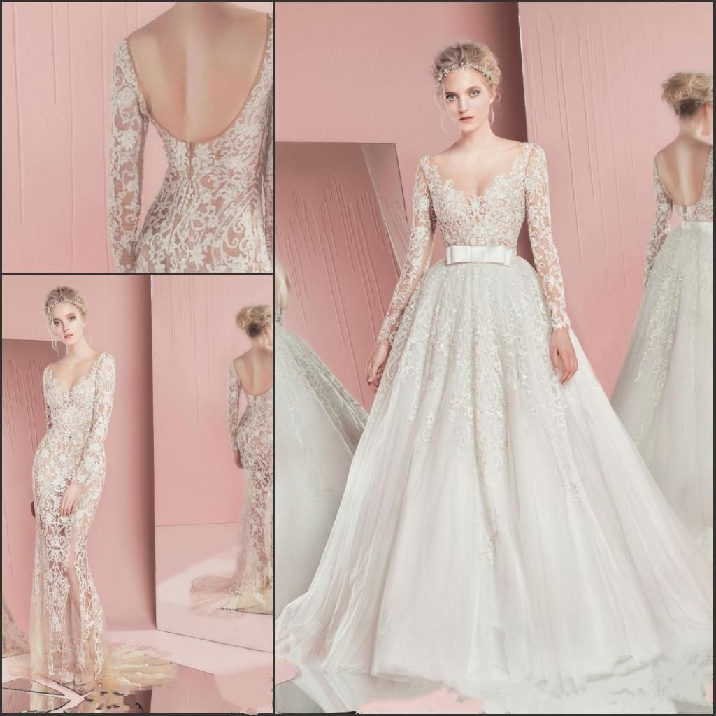 Discount Romantic Sweetheart Lace Applique Detachable Train Wedding ...
