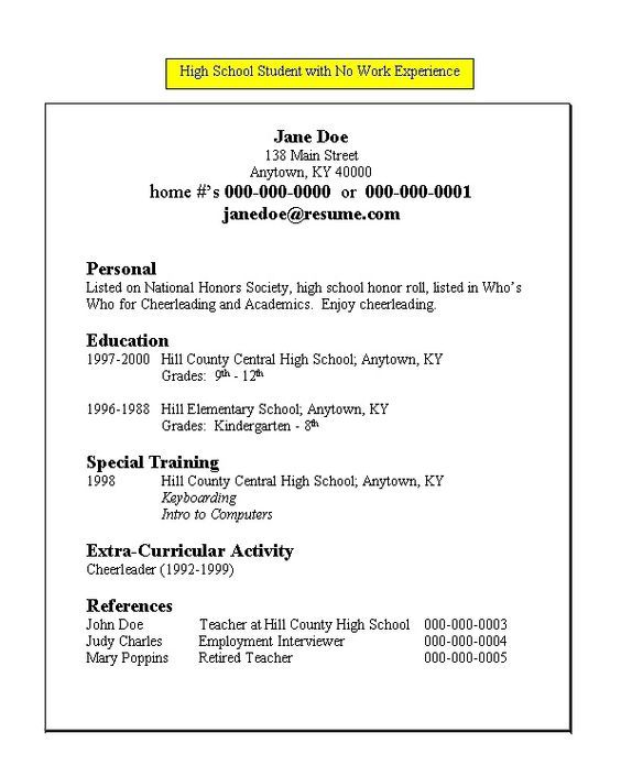 High School Student Resume Templates No Work Experience Example Job