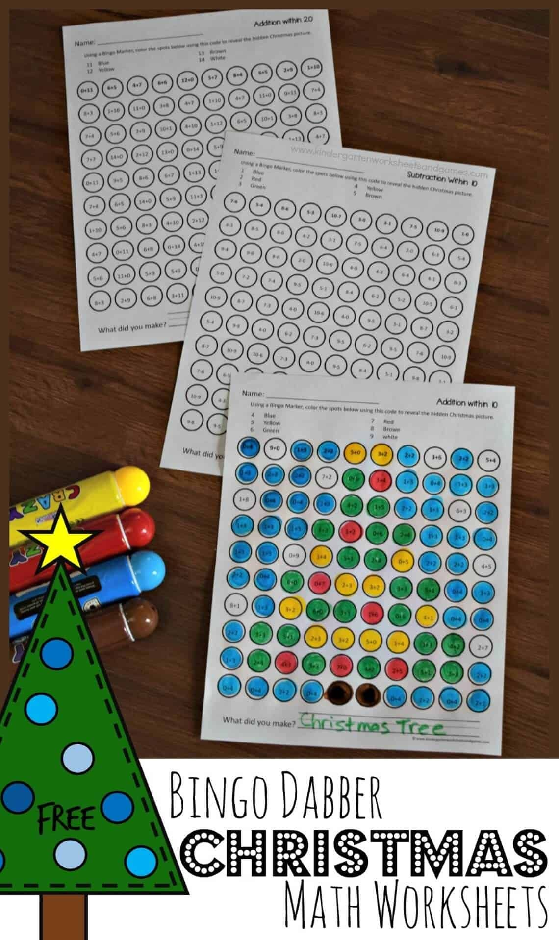Free Bingo Dabber Christmas Math Worksheets