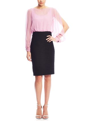 On ideel: NUE BY SHANI Slit Arm Sheer Top Sheath Dress with Bow