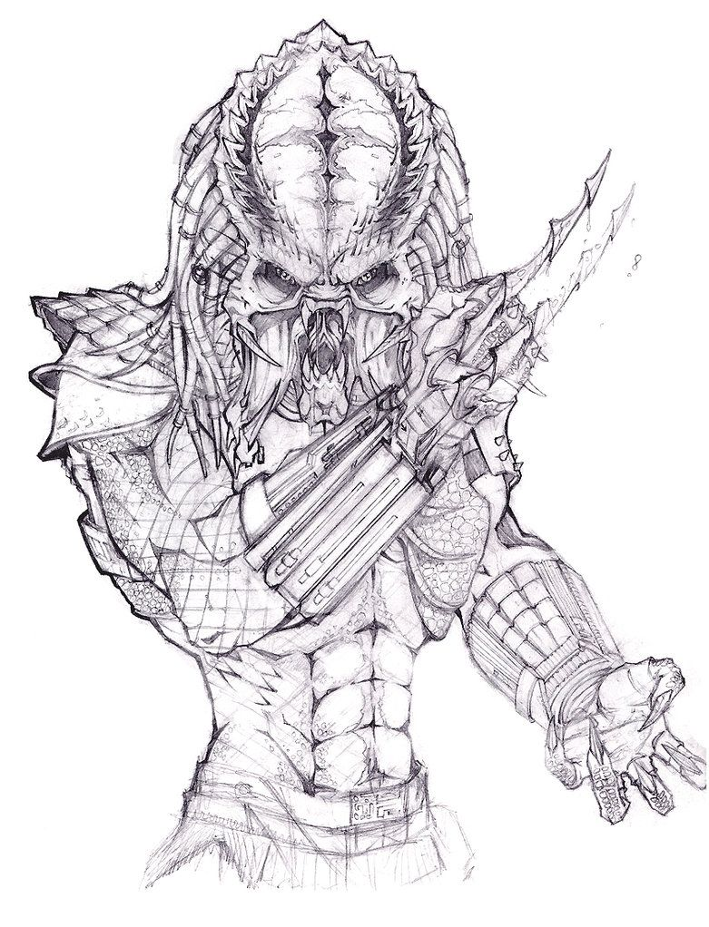 Alien vs Predator Coloring Pages | Alien Predator Drawing Sketch ...