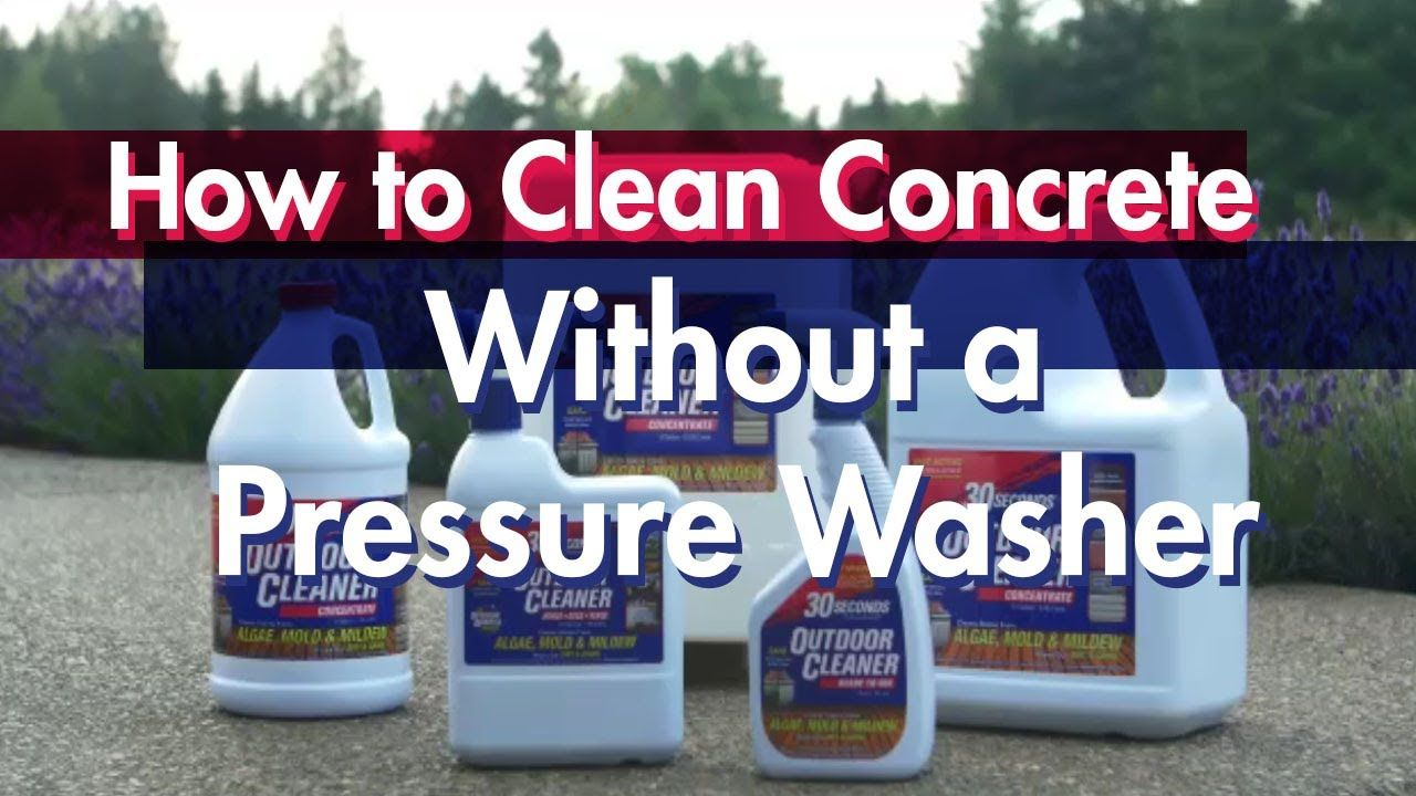 How to clean concrete without a pressure washer with