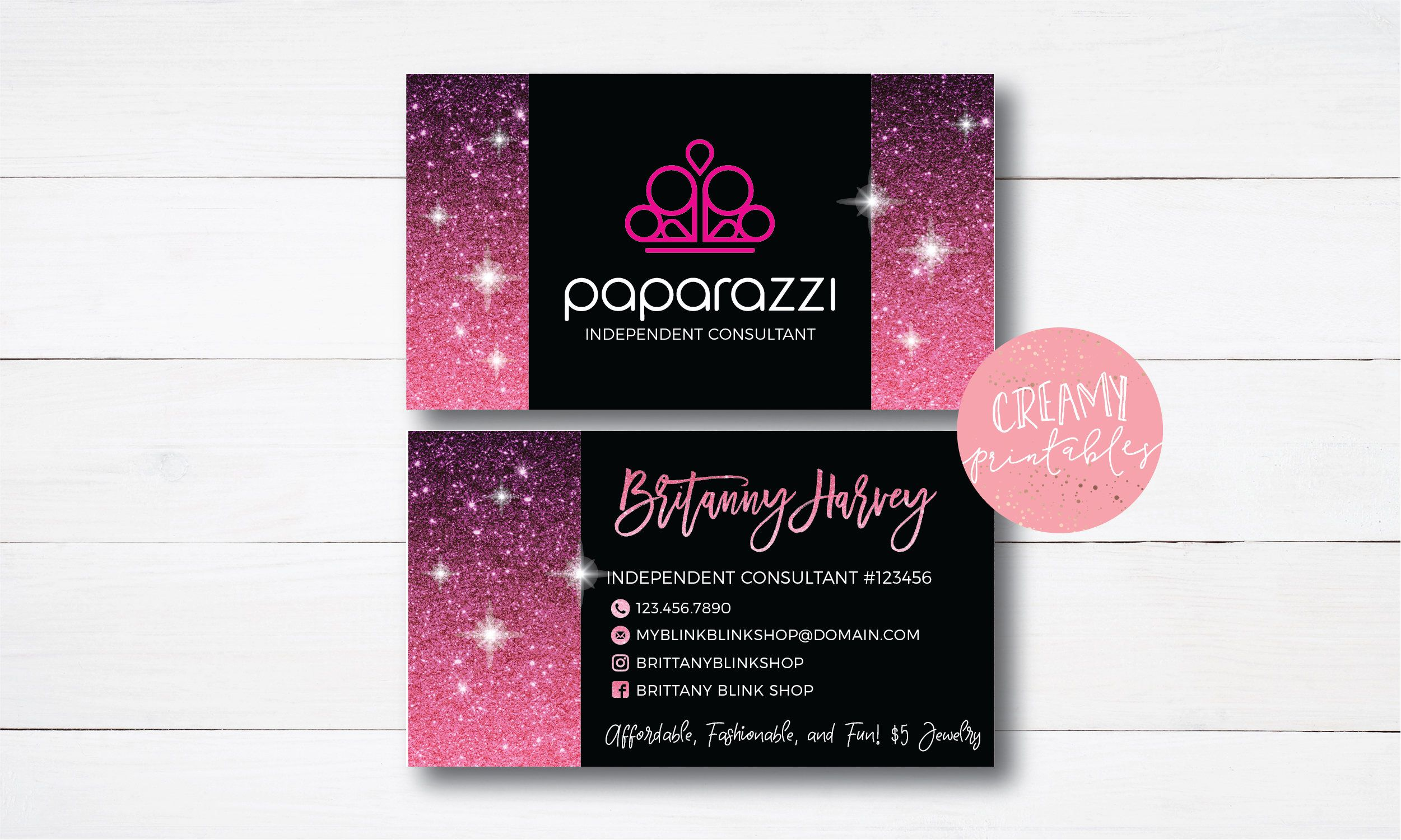 Printable Paparazzi Business Card Paparazzi Jewelry Consultant Card