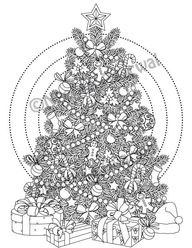 Intricate Christmas Tree Adult Coloring Page Christmas